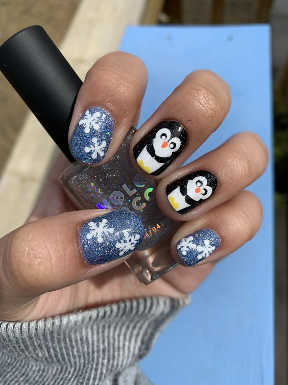 Penguin Nail Art For Winter Which Cannot Be Avoided