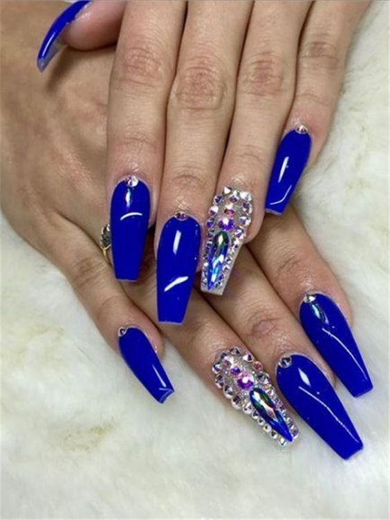 30 Glittering Summer Blue Nails For All Acrylic Nails