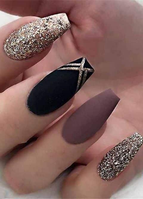 25 Most Impressive Ombre Black Long Acrylic Coffin Nails 2021